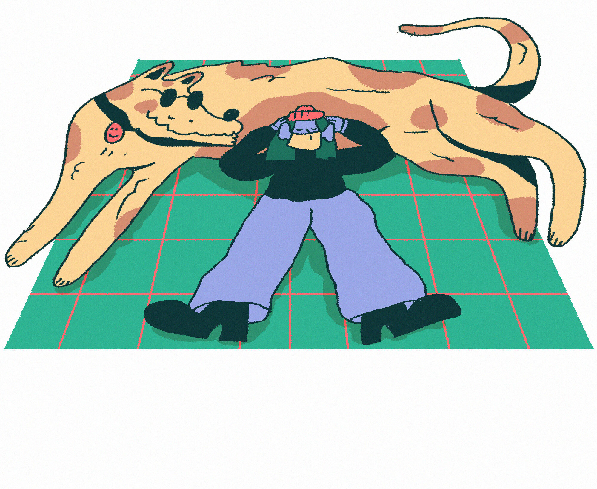 A large spotty dog lying out on a green rug, and a person wearing a face mask resting their head on the dog, like a pillow.