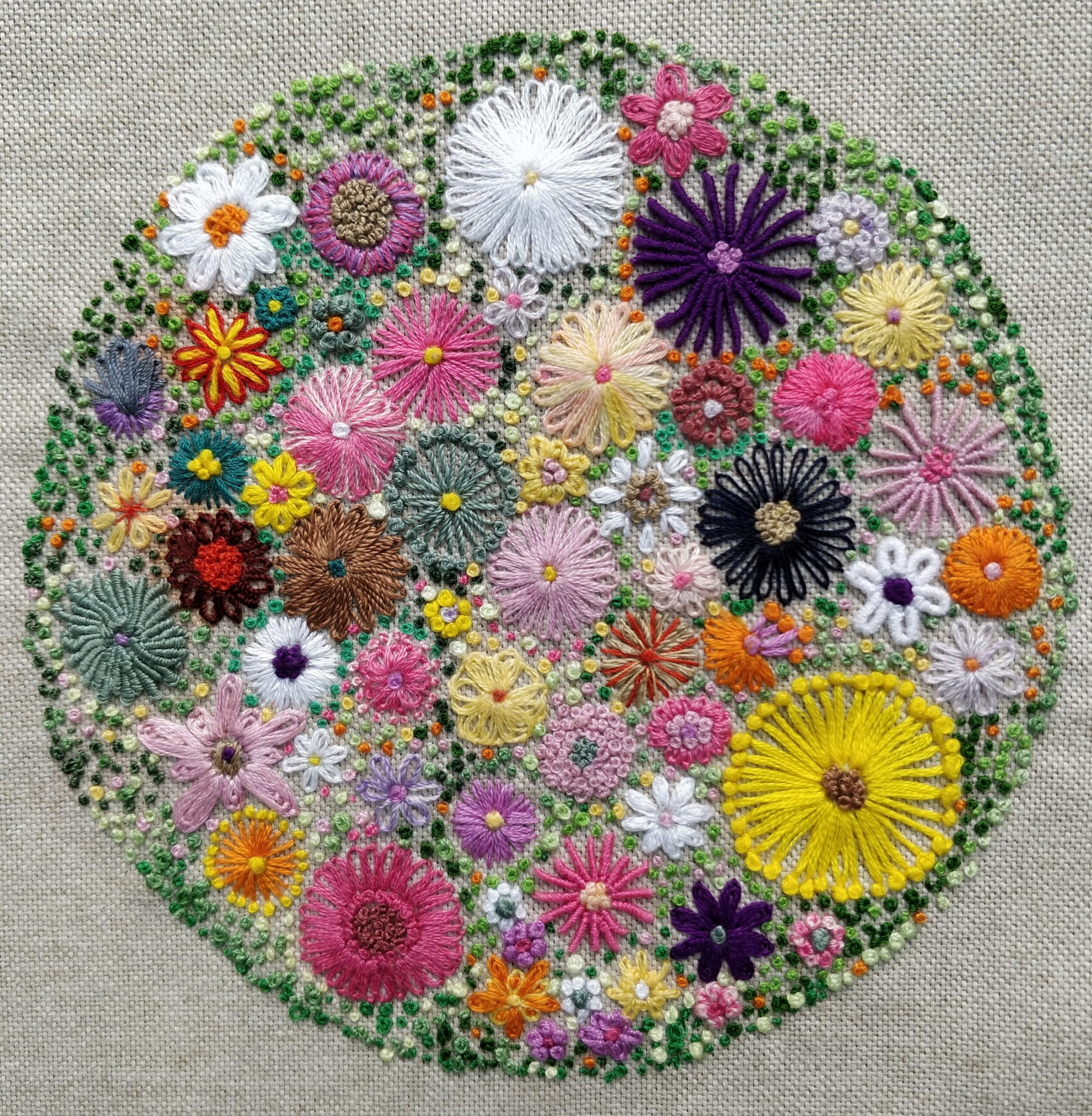 Colourful embroidery, multiple circles within one larger circle.
