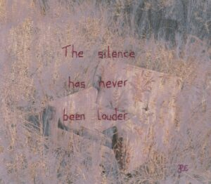 Pastel shades of beige and violet with hints of navy in the background. You can just about make out textures too - maybe an abandoned armchair in a field. In red thread over the image has been stitched: 'The silence has never been louder'.